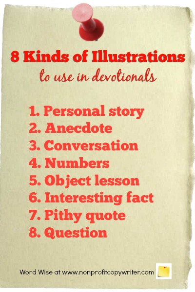 8 kinds of illustrations to use in devotionals with Word Wise at Nonprofit Copywriter