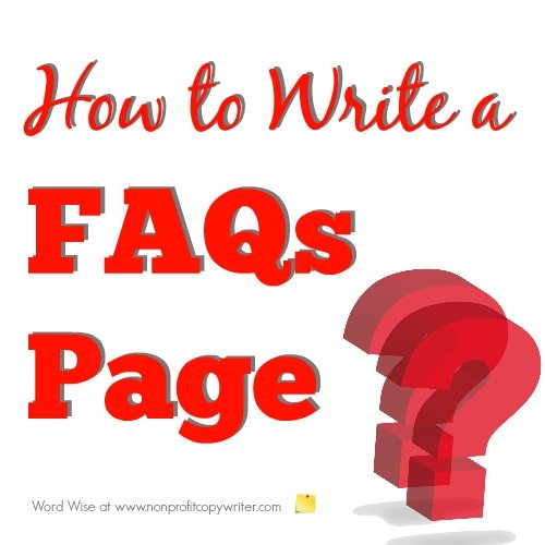 How to write a FAQs page with Word Wise at Nonprofit Copywriter