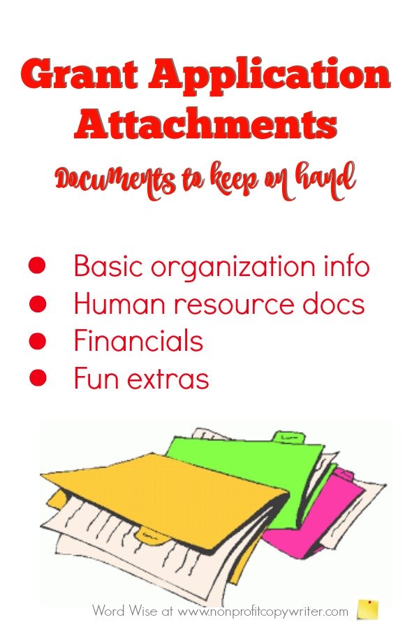 Checklist for Grant Application Attachments from Word Wise at Nonprofit Copywriter. Get organized and save time! #WritingTips #GrantWriting