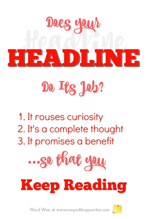 #WritingTip: How to know when a headline does its job with Word Wise: Nonprofit Copywriter
