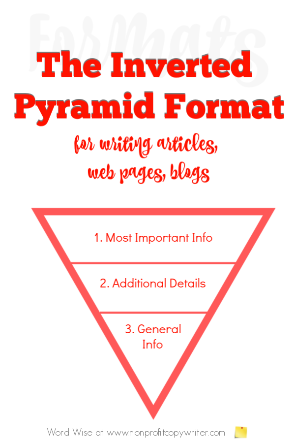 The Inverted Pyramid article writing format for online writing with Word Wise at Nonprofit Copywriter #ContentWriting #Copywriting #WritingTips