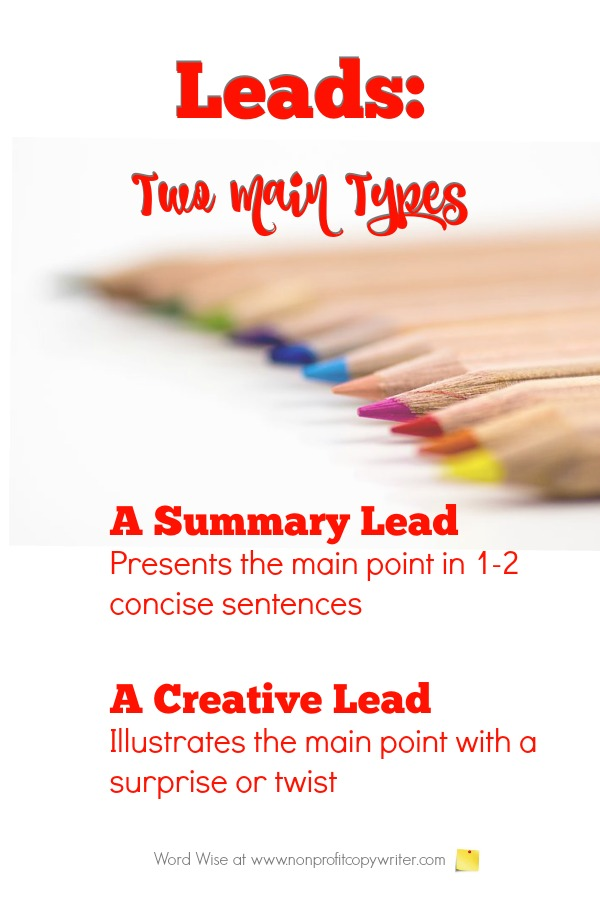 How to write an introduction: 2 main types of leads. #WritingTips #WritingArticles #WritingBlogs with Word Wise at Nonprofit Copywriter