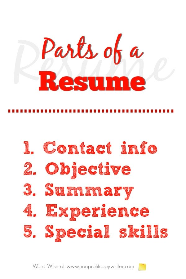 5 parts of a resume with Word Wise at Nonprofit Copywriter