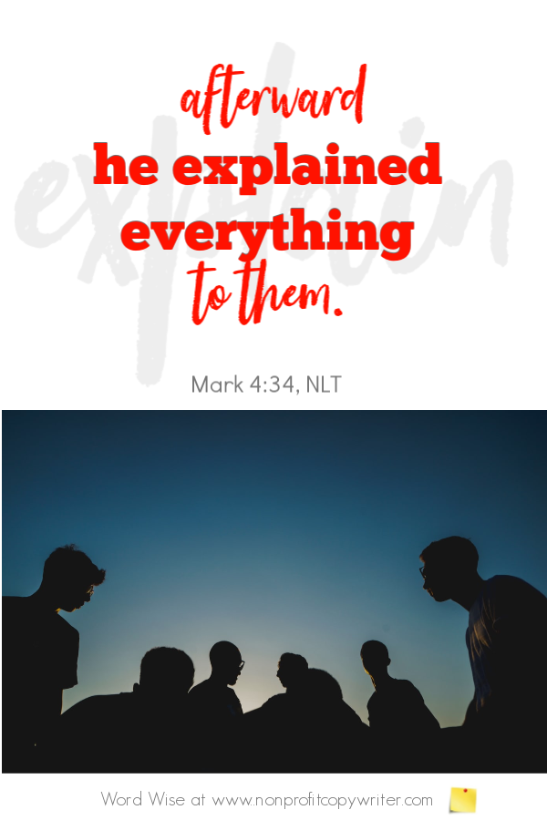 The Word Picture: how Jesus used 1-sentence stories as illustrations with Word Wise at Nonprofit Copywriter #ChristianWriting #Storytelling #Copywriting