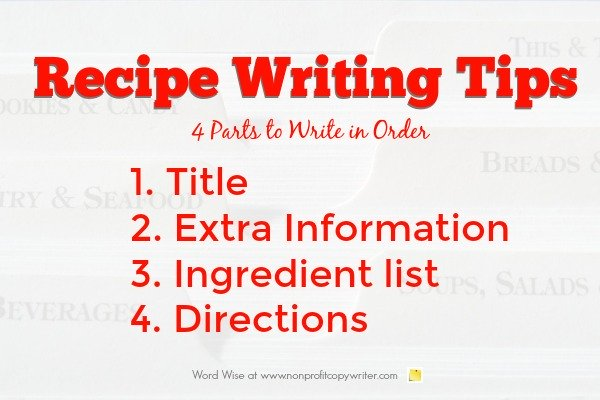Recipe Writing Tips with Word Wise at Nonprofit Copywriter
