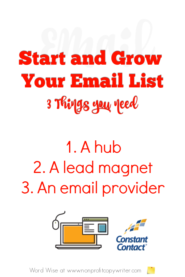 Start and grow your email list: a simple tutorial with Word Wise at Nonprofit Copywriter #FreelanceWriting #WritingTips #ContentWriting