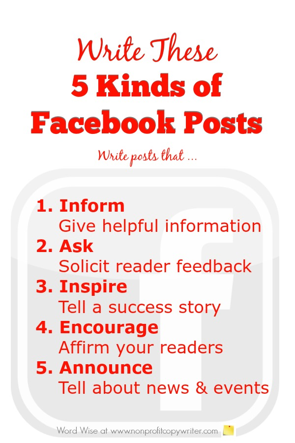 Tips for writing 5 kinds of Facebook posts with Word Wise at Nonprofit Copywriter