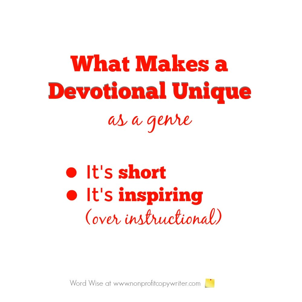 2 elements that make a devotional unique  as a genre from Word Wise at Nonprofit Copywriter