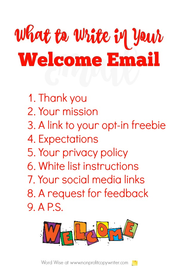 What to write in your welcome email to newsletter subscribers. #WritingTips with Word Wise at Nonprofit Copywriter