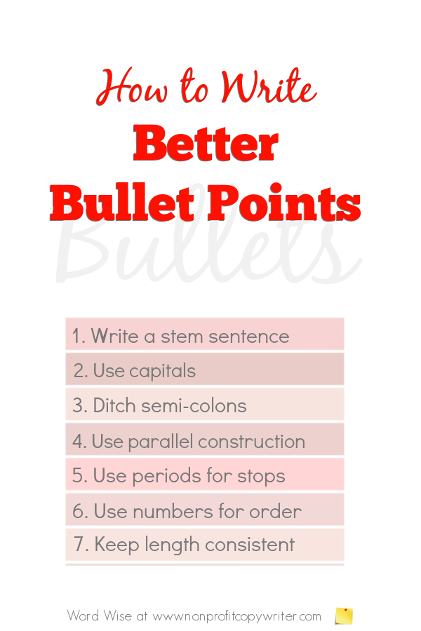 How to #write better bullet points with Word Wise at Nonprofit Copywriter #WritingTips