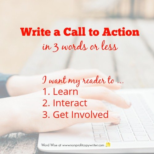 Write a call to action in 3 words or less with Word Wise at Nonprofit Copywriter